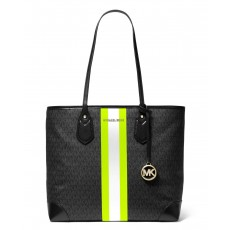 Kabelka Michael Kors Eva large logo stripe black/neon yellow