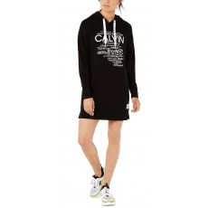 Calvin Klein performance logo-graphic hoodie dress šaty černé