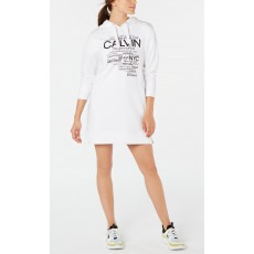 Calvin Klein performance logo-graphic hoodie dress šaty bílé