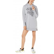 Calvin Klein performance logo-graphic hoodie dress šaty šedé