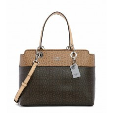 GUESS kabelka Evelina two tone logo satchel brown