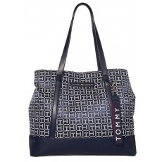 Tommy Hilfiger kabelka Lottie jacquard tote navy/white