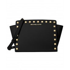 Michael Kors Selma crossbody studded saffiano leather black/gold