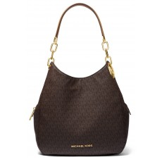 Michael Kors kabelka Lillie large logo shoulder bag brown hnědá