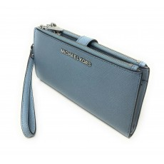 Michael Kors peněženka/wristlet saffiano double zip powder blue