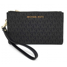 Michael Kors peněženka/wristlet double zip black/gold