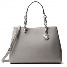 Michael Kors Cynthia medium saffiano satchel pearl grey