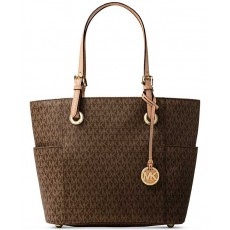 Michael Kors kabelka jet set monogram logo brown