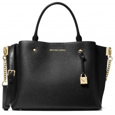 Michael Kors kožená kabelka Arielle large pebbled leather black gold