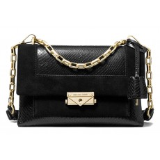 Michael Kors kožená kabelka Cece medium python embossed leather and suede black