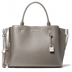Michael Kors kožená kabelka Arielle large pebbled leather pearl grey