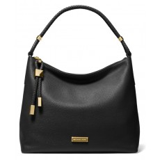 Michael Kors kabelka Lexington large pebbled leather black/gold černá