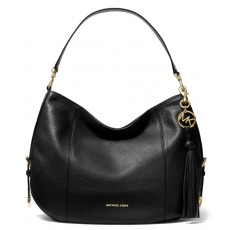Kožená kabelka Michael Kors Brooke large pebbled leather black