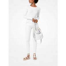 Michael Kors kabelka Brooke medium bucket bag pebbled leather bílá