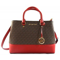 Michael Kors kabelka Savannah large logo brown red