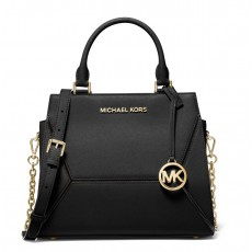 Michael Kors Prism medium saffiano leather satchel black/gold