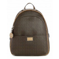 Guess batoh Simmons logo print brown