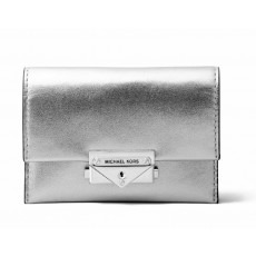 Michael Kors peněženka Cece small leather metallic silver
