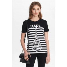 Karl Lagerfeld tričko stripe Eiffel Tower black