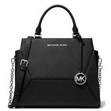 Michael Kors kabelka Prism large saffiano leather black silver