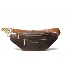 Michael Kors Mott medium crossbody ledvinka logo brown hnědá