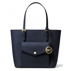 Michael Kors jet set medium saffiano leather pocket modrá/navy