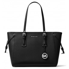 Michael Kors kožená kabelka Voyager medium multifunction top zip black silver