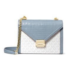 Michael Kors Whitney large logo embossed leather ccrossbody pale blue