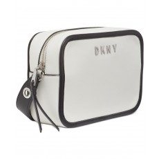 DKNY Duane small leather camera crossbody bílá