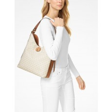 Kabelka Michael Kors Bowery large logo shoulder bag vanilla