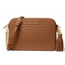 Michael Kors Ginny medium logo debossed leather crossbody luggage hnědá