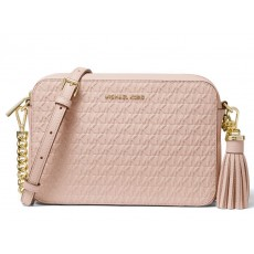 Michael Kors Ginny medium logo debossed leather crossbody soft pink růžová