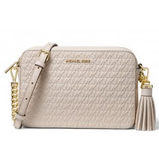 Michael Kors Ginny medium logo debossed leather crossbody light sand béžová