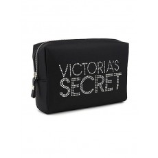 Victoria´s Secret black satin cosmetic make-up case taštička