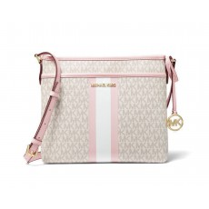Michael Kors Bedford small logo stripe crossbody powder blush