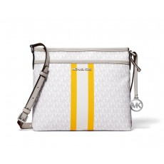 Michael Kors Bedford small logo stripe crossbody bright white