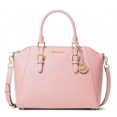 Michael Kors Ciara large saffiano satchel powder blush růžová