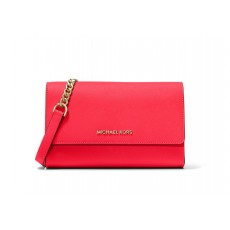 Michael Kors saffiano leather crossbody wristlet 3 v 1 coral červená