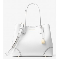 Kabelka Michael Kors Mercer gallery medium leather tote white bílá