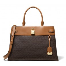 Michael Kors Gramercy large logo and leather satchel brown/acorn