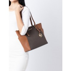 Kabelka Michael Kors Charlotte large logo and leather brown hnědá