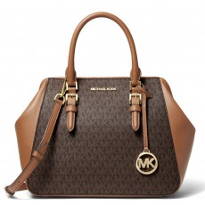 Michael Kors kabelka Charlotte large logo and leather satchel brown hnědá