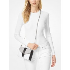 Michael Kors medium color-block logo crossbody white combo