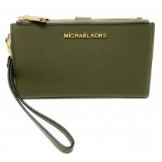 Michael Kors peněženka wristlet saffiano leather double zip duffle green zelená