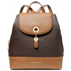 Michael Kors batoh Raven medium logo pebble leather brown acorn
