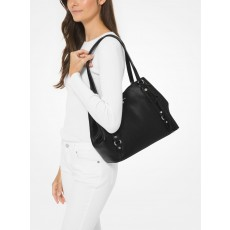 Kabelka Michael Kors Carrie large pebble leather black/silver černá
