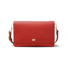 Michael Kors covertible pebble leather crossbody persimmon červená