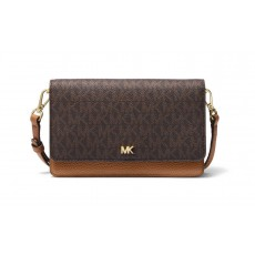 Michael Kors covertible logo and leather crossbody brown