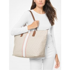 Michael Kors kabelka large logo stripe tote bright white