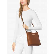 Michael Kors jet set large messenger saffiano leather luggage hnědý